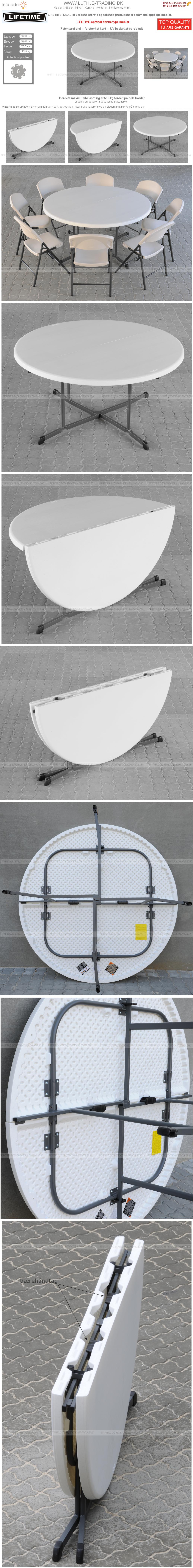 Plast klapborde Ø153 cm. fold